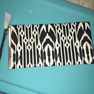 Handbags - Black and white print clutch